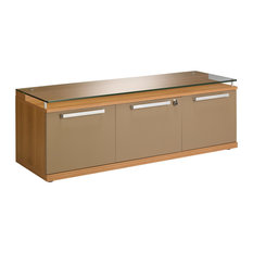 Sliver 2-Door 1-Drawer Storage Cabinet with Glass Top, Walnut Finish