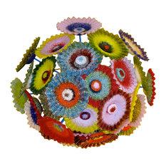 Blown Glass Chandelier - Multi Color Chandelier - Flower Light - Chandelier