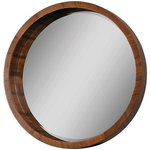 Renwil - Lucerne Mirror - Renwil's Lucerne Round Mirror combines a quality-crafted wooden frame finished in a rich walnut veneer with an interior beveled mirror. While admiring this piece, some may see a ship's porthole or the full moon, but what nobody debates is the contemporary flair. Designs from Renwil adapt classic styles for the 21st century.