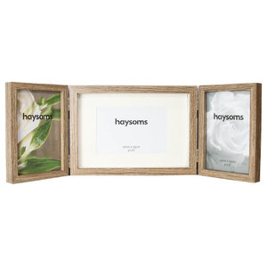 """Contemporary Wood Oak Effect Hinged Triple 4"""" x 6"""" Table Collage Picture Frame"""