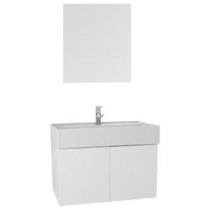 """31"""" Bathroom Vanity Set, Glossy White"""