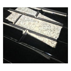 DIY Reflections Antique Silver Beveled 3 in. x 12 in. Glass Mirror Subway Tile,