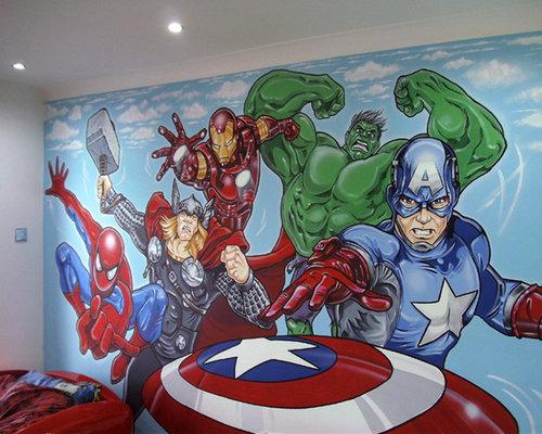 marvel avengers mural - themed bedroom