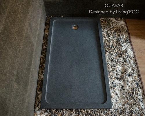 grand receveur de douche 160x90 granit gris l 39 italienne quasar. Black Bedroom Furniture Sets. Home Design Ideas
