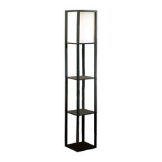 Square Etagere Floor Lamp Storage and Display Shelf