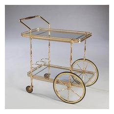 A unusual mid century polished brass bar cart / drinks trolley
