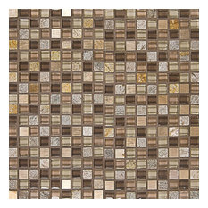 "Eclipse 12""x12"" Glass & Stone Mosaic Tile, Maple Rum"