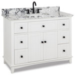 "Hardware Resources - 48""White vanity, Matte Black hardware, White, Black Engineered Marble top, bowl - 48"" White vanity with Matte Black hardware, contemporary Shaker style, hidden tipout storage space, and preassembled White and Black Engineered Marble top and rectangular bowl"