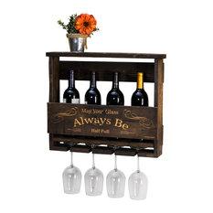 "Del Luxe Top Shelf Engraved ""Always Be"" Wine Rack, Dark Walnut"