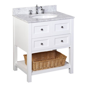 "New Yorker Bath Vanity, Base: White, 30"", Top: Carrara Marble"