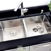 Drop In Double Bowl Kitchen Silver Sink Stainless Steel