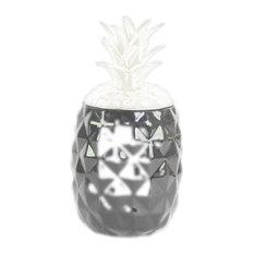 Ceramic Canister, Gloss Black, White