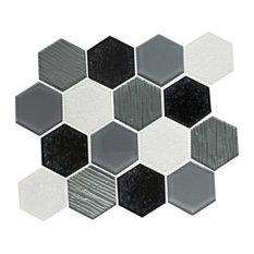 """12""""x12"""" White, Black and Gray Crackle Hexagon Mix"""