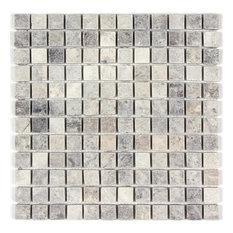 Silver Travertine Mosaic, 1x1, Tumbled Mosaic Tiles, 10 SqFt