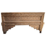 Mogul Interior - Consigned Antique Arch Bench Salvaged Welcome Gate Beautifully Carved Table - The bench is actually an architectural salvage from a huge antique Indian welcome gate, hand carved in teak wood , its a spectacular piece of art, perfect for your garden