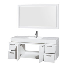 "Amare 60"" Single Bathroom Vanity, Acrylic-Resin Top, Integrated Sink, 58"" Mirror"