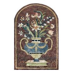 "Floral Mediterranean Mosaic Art, 24""x35"""
