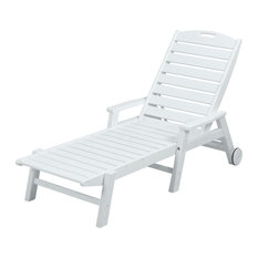 POLYWOOD Nautical Chaise with Arms & Wheels, White