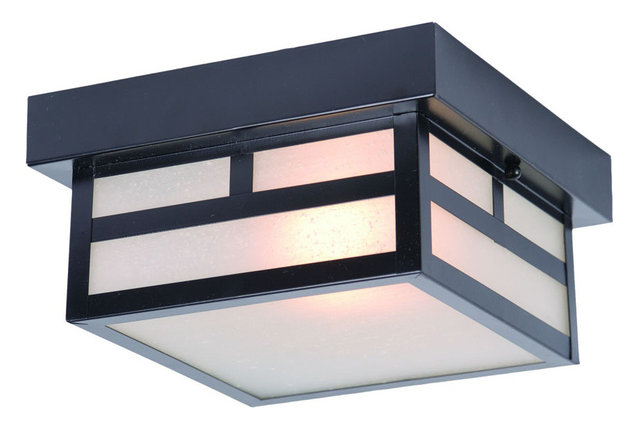 One Light Small Flush Mount Matte Blackfinish Frosted Seeded Gl