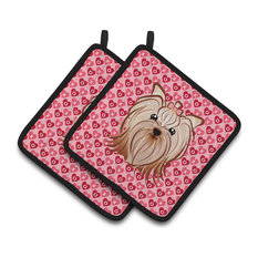 Yorkie Yorkishire Terrier Hearts Pot Holders, Set of 2
