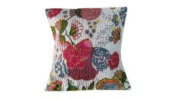 White Floral Kantha Throw Pillow