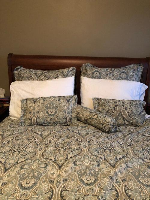 Bedroom Paint Color Mahogany Bed Mckenna Paisley Blue Duvet