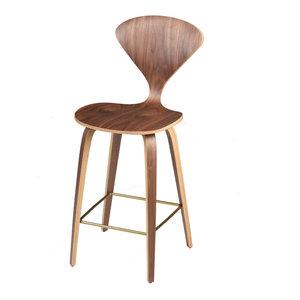 Satine Walnut Veneer Wood Stool, Counter Height
