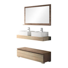 Slim Double Sink Bathroom Vanity Unit, 120 cm