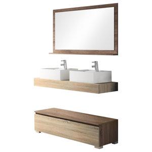 Slim Double Sink Bathroom Vanity Unit, 120 cm