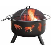 """Large Black Steel Outdoor Fire Pit With Bear Deer Animals, 17"""""""