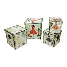 "Wooden Vintage-Style Fashion Dresses Decorative Storage Boxes, Set of 4, 8-14"""