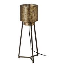 Chaudron I Floor Lamp, Antique Brass & Matte Black