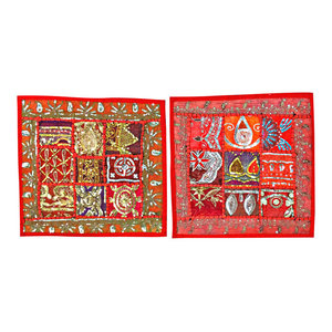 Mogul Interior - 2 Indian Pillow Red Sari Patchwork Sequin Beaded Toss Cushion Covers - Decorative Pillows