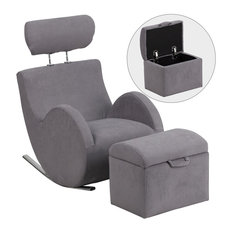 Flash Furniture   Flash Furniture Hercules Series Gray Fabric Rocking Chair  With Storage Ottoman   Footstools