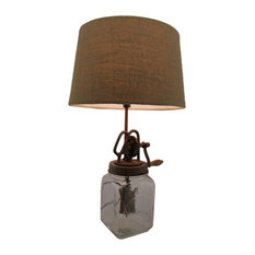 Antique Style Butter Churn Glass and Metal Table Lamp Country Vintage
