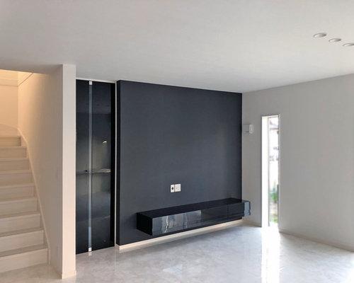 リビングのテレビボードスペースをモノトーンにして目を引きます。 - リビング家具
