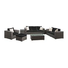 Lusso 7-Piece Sofa Set Outdoor Grey Rattan With Navy Cushion, Grey Toss Pillows