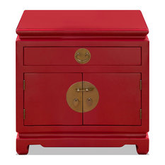 Elm Wood Chinese Ming Nightstand Cabinet Red