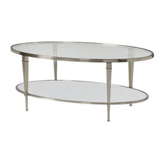 Hammary Furniture Hammary Mallory Oval Glass Top Cocktail Table In Satin Nickel Coffee Tables