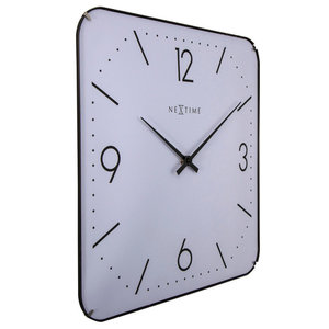 Basic Square Dome Wall Clock, White
