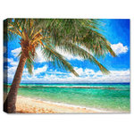 """Canvas Art Plus - Caribbean Ocean View from Beach, Fine Art Painting, 24""""x18"""", Outdoor Canvas - General Features"""