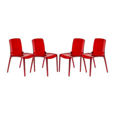Modern Dining Chair in Red - Set of 4