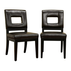 Baxton Studio - Baxton Studio Faustino Leather Dining Chair, Set of 2, Dark Brown - Dining Chairs