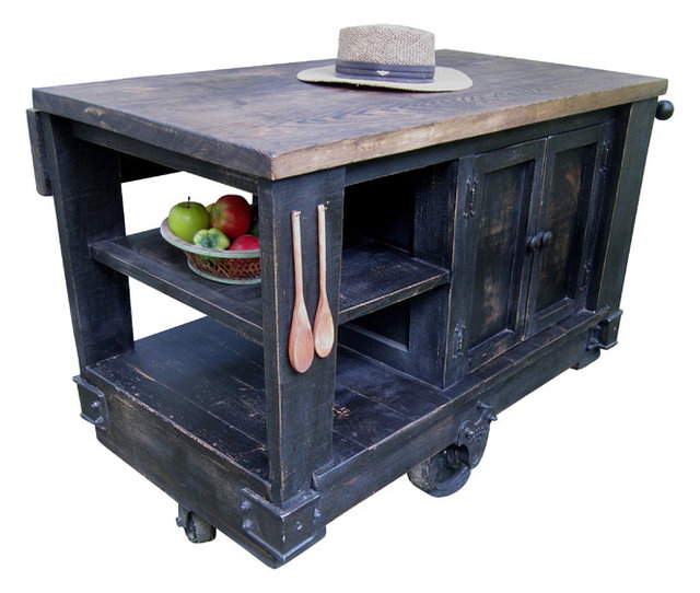 Modern Rustic Kitchen Island Cart With Walnut Stained Top, Black