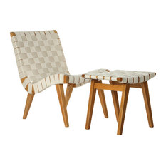 Cotton Weave Lounge Chair and Ottoman