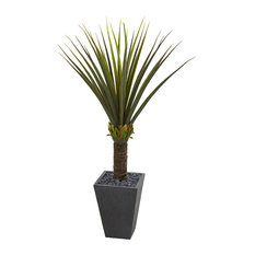 60 in. Agave Artificial Plant in Slate Finished Planter