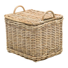 Rattan Core Rectangular Storage Basket with Lid, Natural