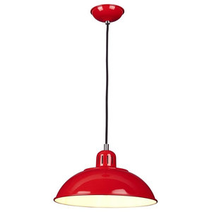 Spun Shade Ceiling Pendant, Red