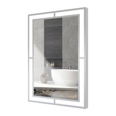 "24""X36"" Carlton Rectangle Bathroom Led Mirror With Defogging, Brushed Nickel"