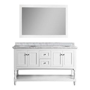 "Cape Cod 60"" White Bathroom Vanity, With Mirror"
